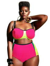 High Waist Color Block Bikini