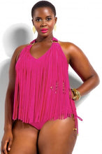 Hot Pink Plus Size Tassled One Piece