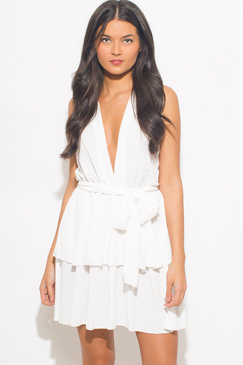 Deep V Chiffon Ruffle Dress
