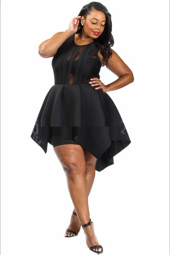 Peplum High Low Dress