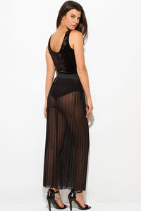 Pleated Sheer Skirt