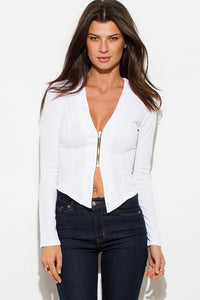 Asymmetrical Gold Zipper Blazer
