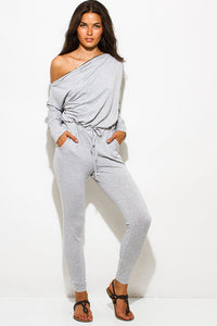 Light Grey Zipper Shoulder Jumpsuit