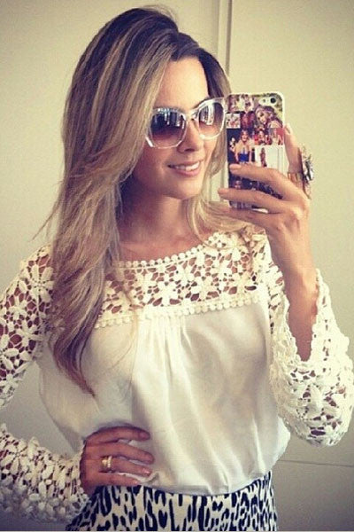 Laced Crochet Chiffon Blouse