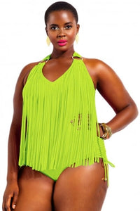 Lime Green Plus Size Tassled One Piece