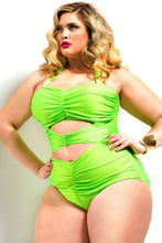 Plus Size Ruched Cut Out One Piece