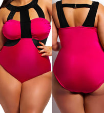Pink and Black Plus Size One Piece