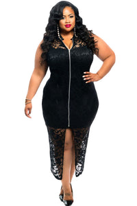 Plus Size Lace Zipper Dress