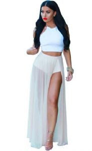 Chiffon Split Skirt Set