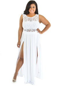 Plus Size Lace Top Maxi  Dress