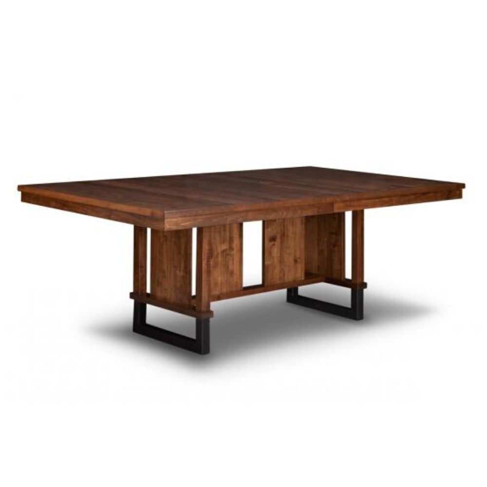 Cumberland Trestle Dining Table Steel Base And Rustic Textured Finish