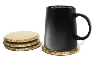 Renee Redesigns Black Gold Bottom Mug & Gold slate coasters