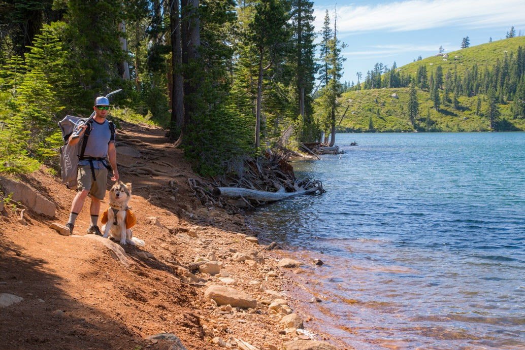 Joe Dondelinger Ambassador LXV outdoor Day Hike and Paddle on Island Lake tahoe sup alpine explorer dog sage 3