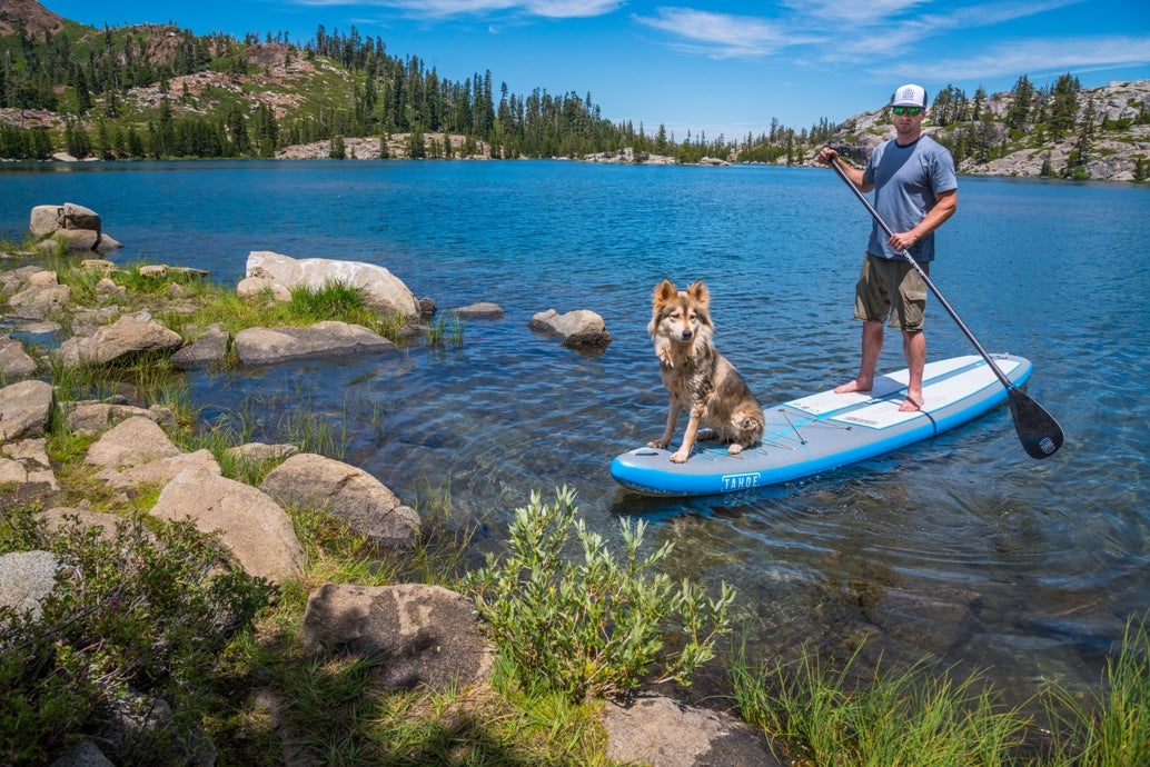 Joe Dondelinger Ambassador LXV outdoor Day Hike and Paddle on Island Lake tahoe sup alpine explorer dog sage 2