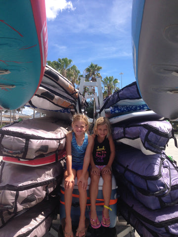 Coast to Coast in Florida with the Capra Water Family - Kai and Marleigh between the boards Tahoe SUP Alpine Explorer inflatable