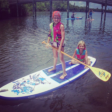 Nicole Capra Ambassador LXV outdoor is it worth it tahoe grom kids sup paddle paddleboard two little girls on board