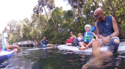 Freshwater and Old Friends on Florida's Blue Spring Estuary Ronnie Ayres Tahoe sup Grom Rubucon Family shot