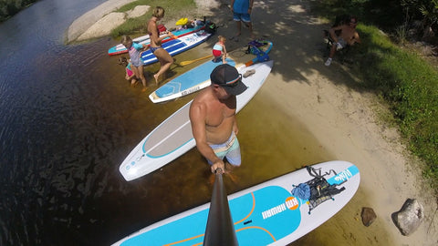 Freshwater and Old Friends on Florida's Blue Spring Estuary Ronnie Ayres Tahoe sup Grom Rubucon Alpine Explorer KM Hawaii Aloha Bamboo Cruise shot from above