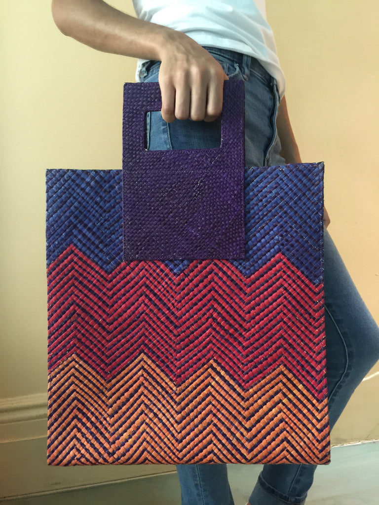 Large Tote w/ Handle-Purple/Red