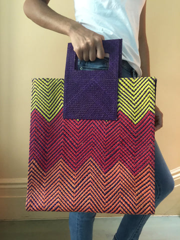Large Tote w/ Handle-Yellow/Red/Orange