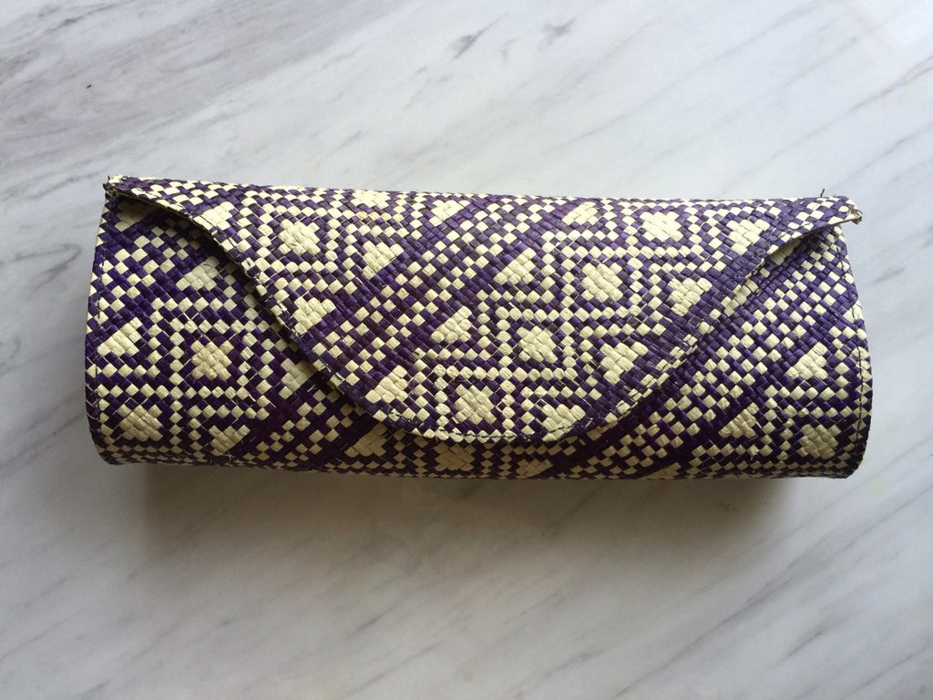 Small Clutch-Purple/Natural