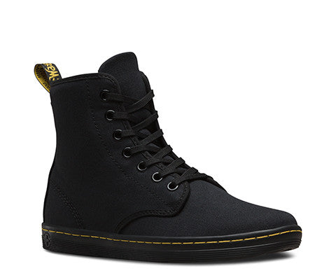 SHOREDITCH 7 EYE BLK CNVS LACE UP BOOT