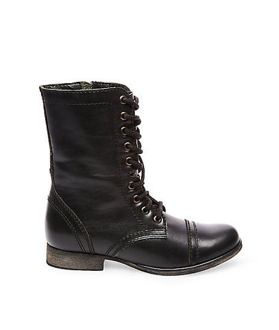 BLK LE LACE UP COMBAT BOOT