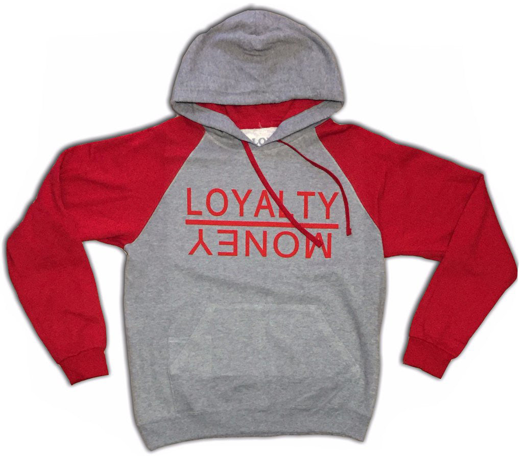 Loyalty Over Money Signature Hoodie - Red & Grey