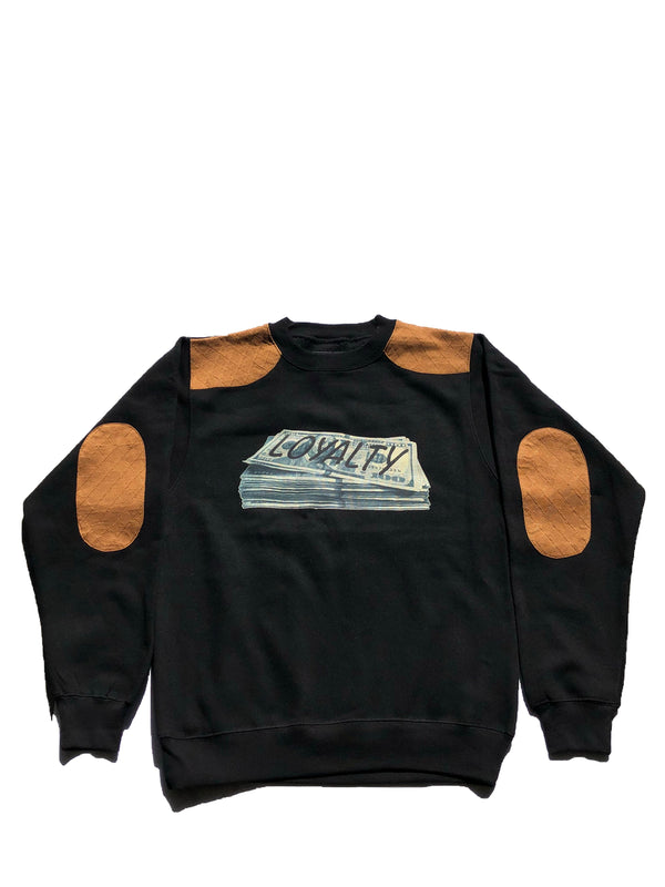 Loyalty Over Stacks Crewneck-Black