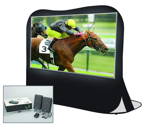 "84"" Diag. Projection Screen Kit with Projector, Speaker & Carry Bag"