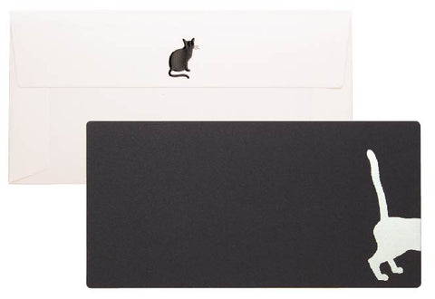 Yamazakura - Cashico - embossed card with silver foil printing - black cat