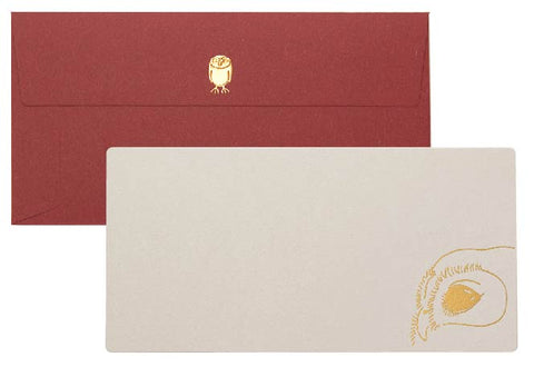 Yamazakura - Cashico - embossed card with gold foil printing - owl