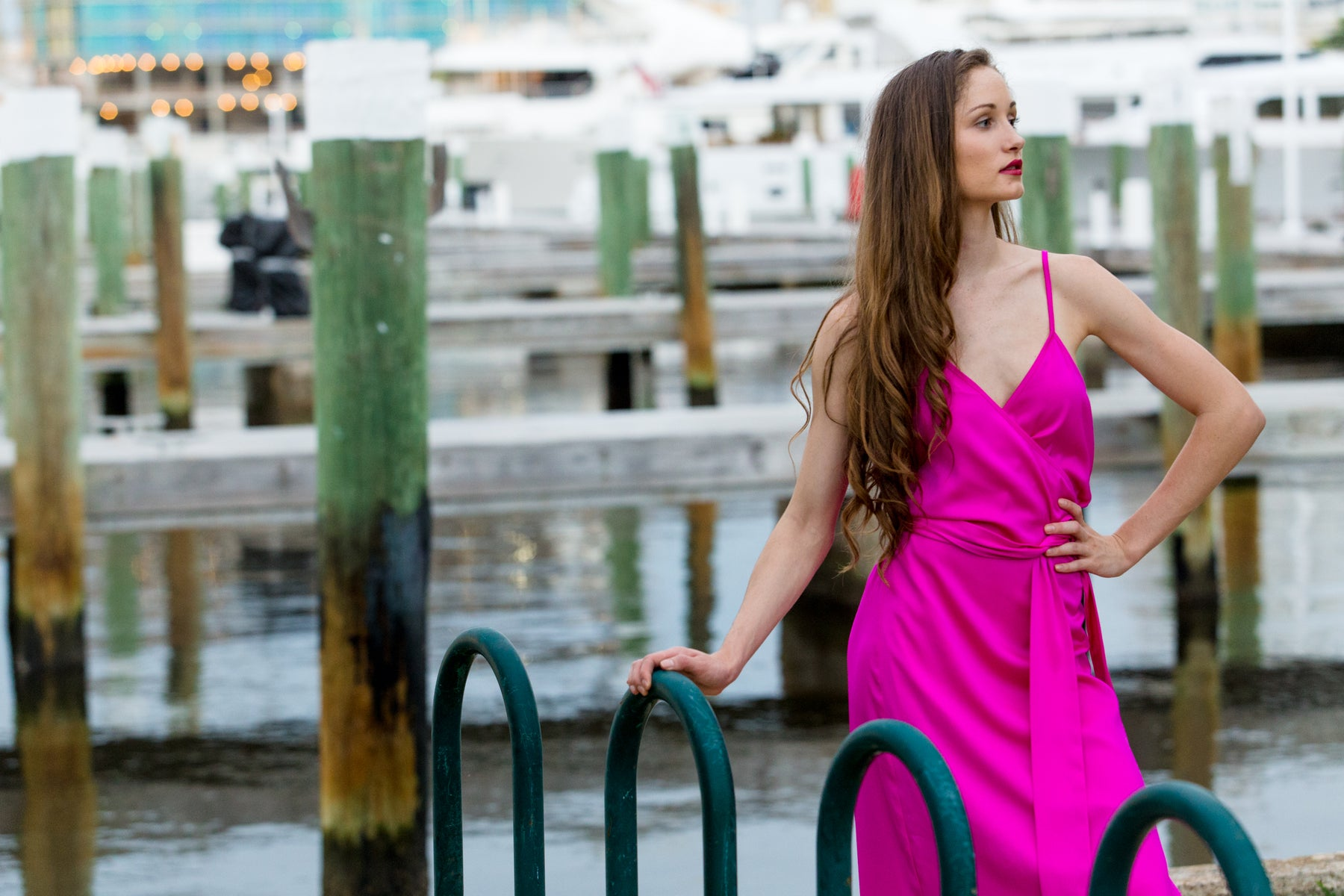 Palm Beach Peony pink dress.  Strappy wrap around dress.  Pink silk dress perfect for day or night occassion. Light weight, easy to care for travel dress.