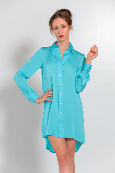 London Shirt Dress Turquoise