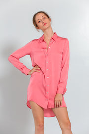 London Shirt Dress Peach Coral - Nouvelle