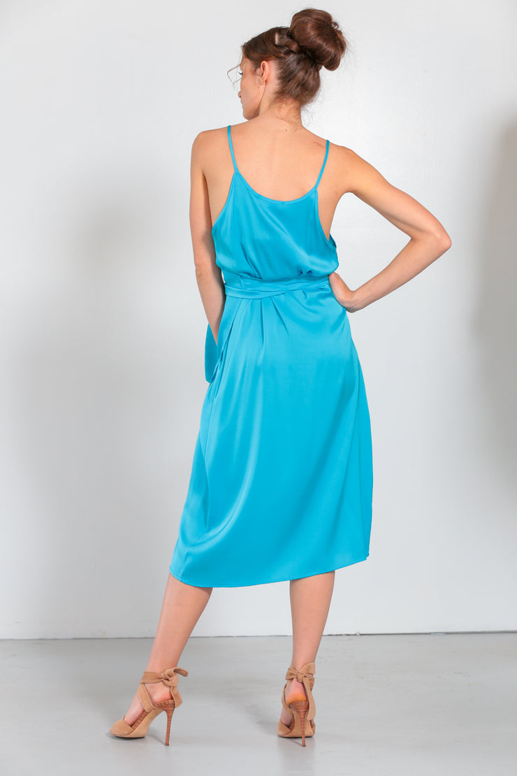 Mauri Wrap Dress Fountain Blue - Nouvelle