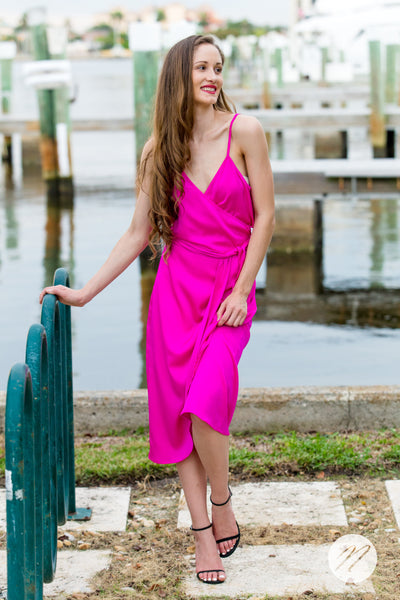 Mauri Wrap Dress Palm Beach Peony
