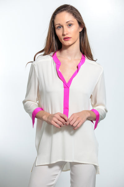 Pauli Pop On Shirt with Palm Beach Peony Trim - Nouvelle