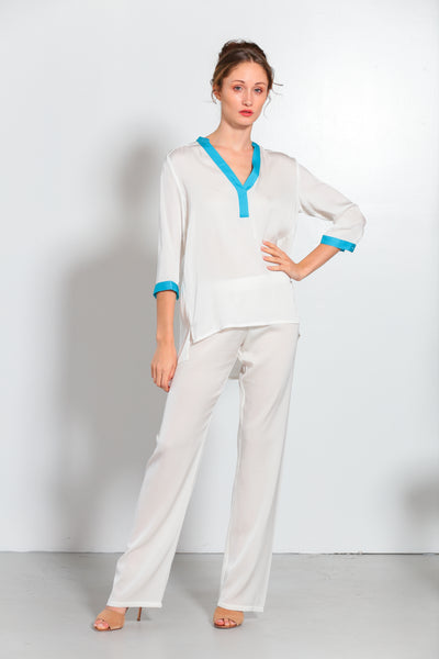 Pauli Pop On Shirt with Fountain Blue Trim - Nouvelle
