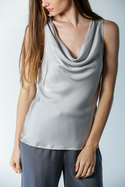 Paris Cowl Neck Top Silver Lining - Nouvelle