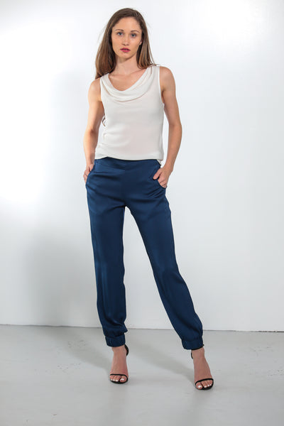 Mara Pants Midnight Blue Sand Washed - Nouvelle