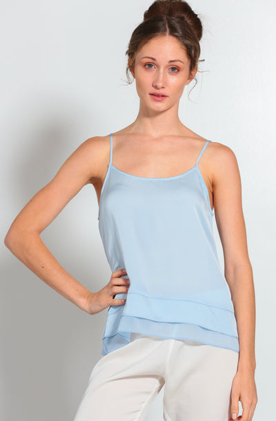 Cami-Jami Set Faded Denim Cami and Nouvelle White Jami - Nouvelle