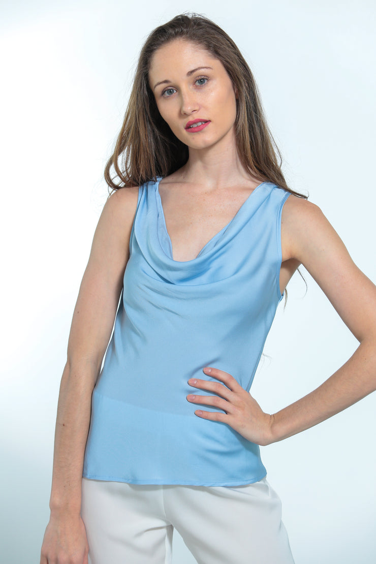 Paris Cowl Neck Top Shore Blue - Nouvelle