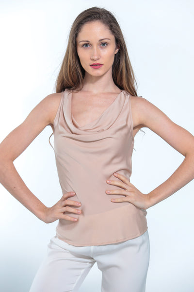 Paris Cowl Neck Top Nude - Nouvelle