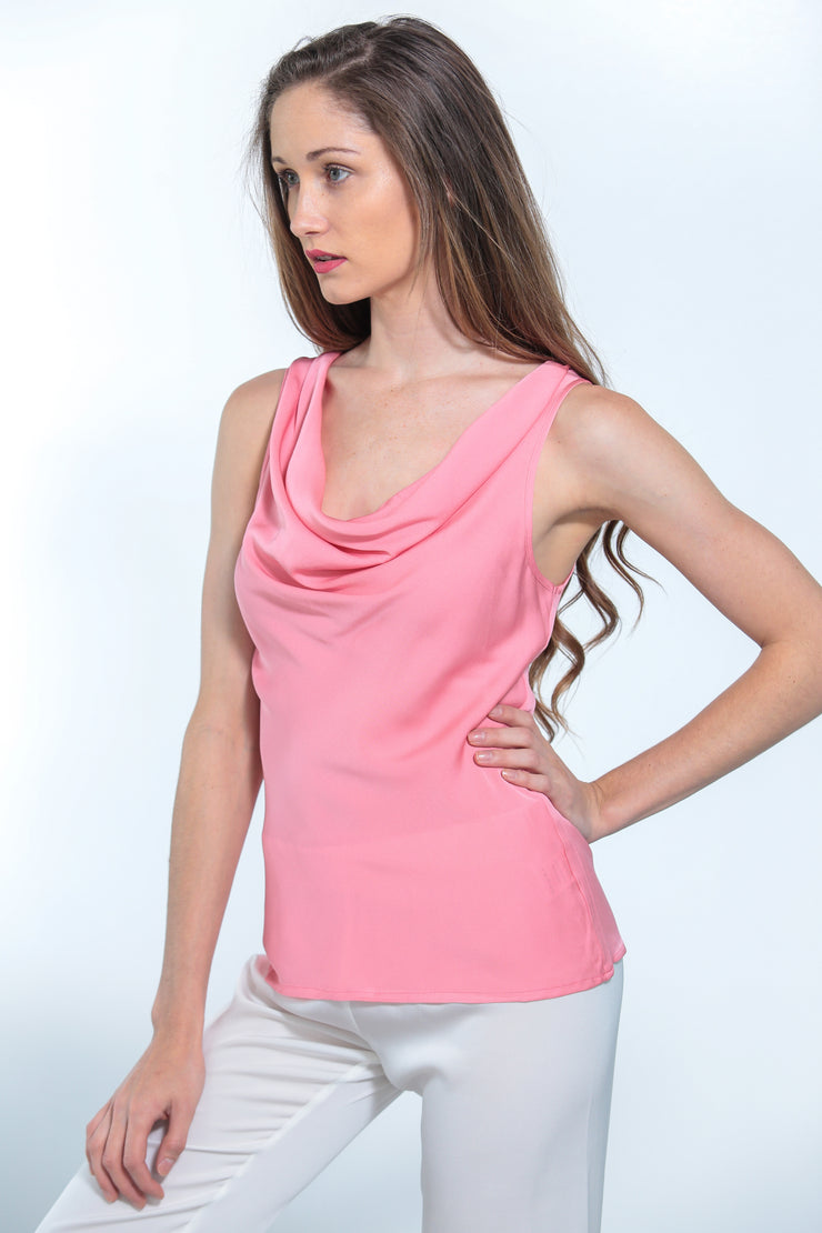 Paris Cowl Neck Top Peach Coral - Nouvelle