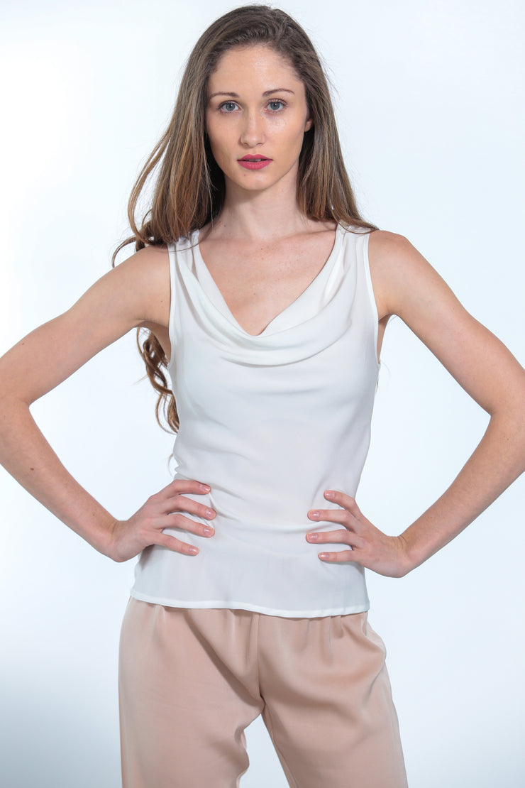 Paris Cowl Neck Top Nouvelle White - Nouvelle