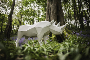 3d Paper craft Rhino, DIY LowPoly Paper Pet Template. Gift for him