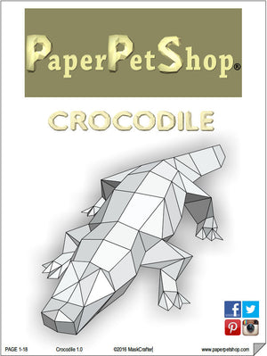 Paper Crocodile , Printable Papercraft Template, Instant Download