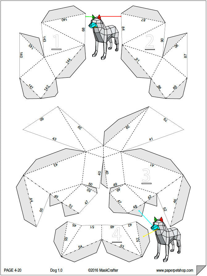 3D Wolf/Dog Papercraft template, Instant Download, Perfect Gift ...
