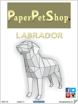 "Labrador Dog, Printable Papercraft Template. ""Man's best friend"",  special DIY Gift for him."